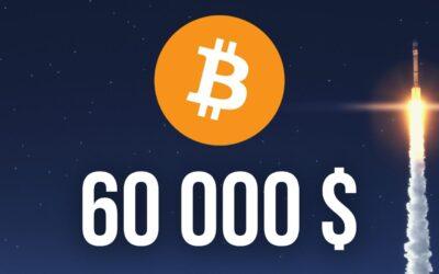 Bitcoin Nosar På ATH – Nära Passera 60 000 Dollars Nivån
